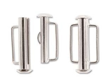 Pack of 4  - 21.5mm  Silver Plated Slide Bar Clasp