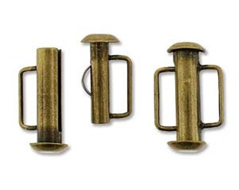 free uk postage Antique Brass Slide Bar Clasp 16.5mm Pack of 4