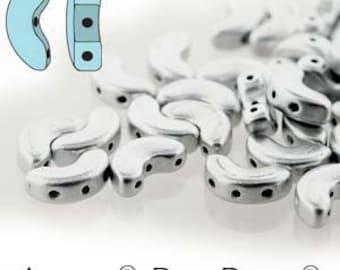 40 beads Arcos Par Puca Beads Silver Aluminium Mat ARC510-00030-01700 glass beads