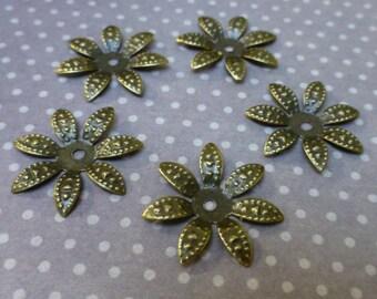 Iron flower bead caps pack of 100