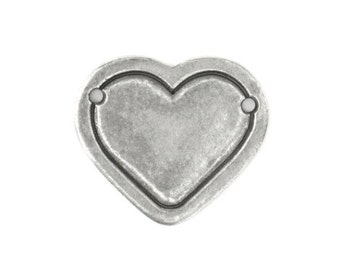 free UK shipping Pack of 2 Pewter Stamping Blanks Heart with Border