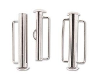 free uk postage Pack of 4 Silver Plated Slide Bar Clasp 26.5mm