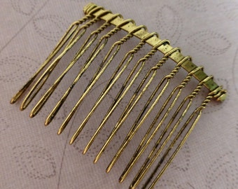 free shipping in UK - 10 pcs - Antique Gold Hair Combs Small 37x49mm, slight seconds
