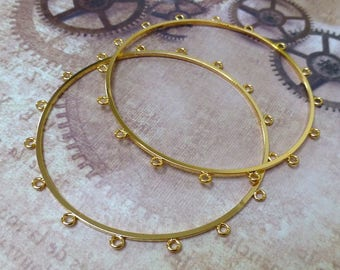 free shipping in UK - Pack of 2 Bangle with 16 Loops Gold Plated Bracelet blanks