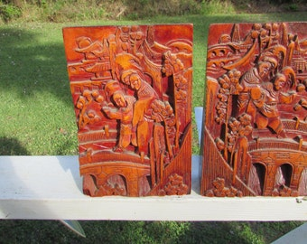 Antique Vintage CHINESE Wood Carved BOOKENDS