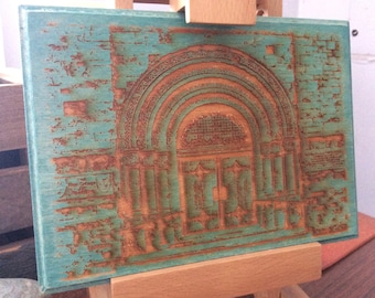 Plymouth Massachusetts church doors laser engraved on wood