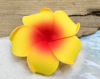 Hair Clip, 3 inch, Yellow and Orange, Floral Hair Clips, Hawaii Hair Clips, Foam Flowers