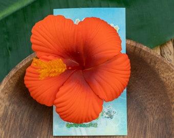Orange Red  Hibiscus Hair Clip, 2 3/4 Inch Hair Flower