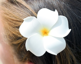 White Plumeria Hair Clip, White and Yellow, 3 inch, Bridal Hair Clip, Flower Girl