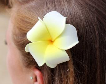 Plumeria Hair Clip, Yellow Hair Flower,  Hawaii  Hair Clips, Flower Hair Clips