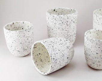 White speckled mug - speckled ceramic - large mug - expresso cup - tea cup - ceramic glass - handleless mug - handmade ceramic