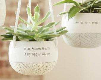 Plant hanger - small hanging planter - ceramic plant holder - succulent pot - cactus pot - handmade ceramic planter - macrame cord