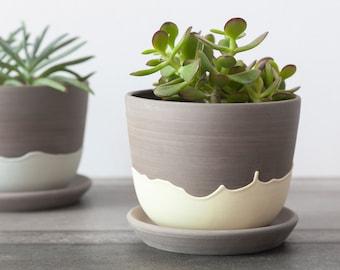 Stoneware planter with yellow drips , Ceramic plant pot , Pottery planter , Plant pot cover , Handmade plant holder