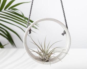 Tillandsia holder speckled ceramic , Air plant holder , Handmade ceramic planter , Small wall vase