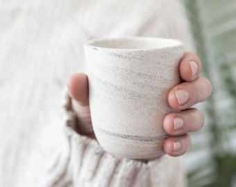 Small speckled handleless mug , Handmade coffee cup , Small tea cup with speckles , Ceramic espresso cup
