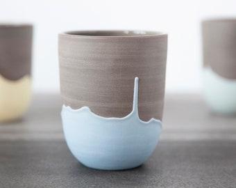 Large handleless mug with blue drips , Handmade coffee mug , Ceramic coffee cup , Pottery mug