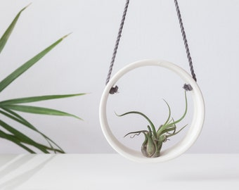 White air plant holder , Ceramic planter , Tillandsia holder , Handmade wall planter