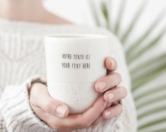 Large customized ceramic mug , Custom speckled mug , Personalized ceramic mug
