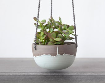 Small hanging planter with teal drips , Ceramic plant hanger , Small indoor planter , Handmade ceramic plant hanger