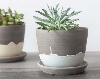 Stoneware planter with teal drips , Handmade plant holder , Pottery planter , Plant pot cover