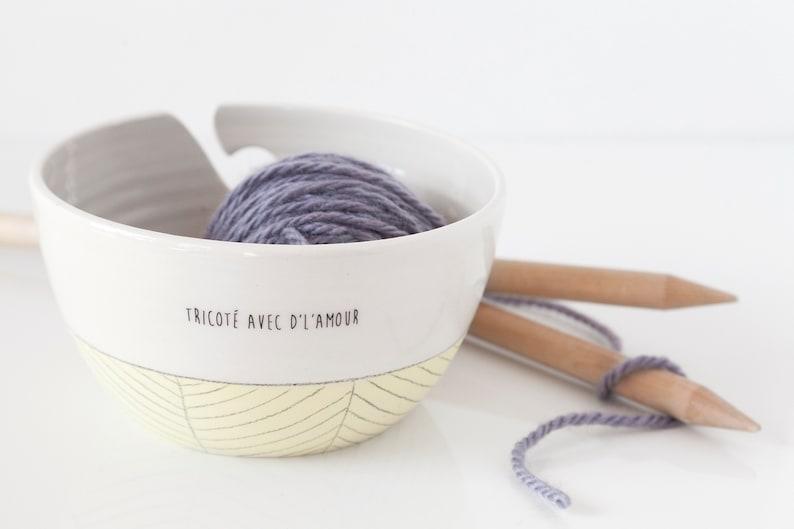 Ceramic yarn bowl  Knitting bowl with quote  Large ceramic image 0