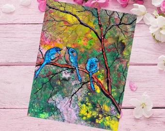 Blue Bird paintings, bluebird prints, Blue bird canvas paintings, blue bird wall hangings, painting of blue birds, blue bird wall decoration