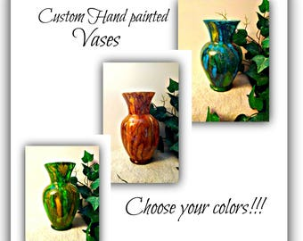 hand painted Glass Vase decor   colorful up cycled glass vases   decorative glass vases   glass art   hand painted glass vase   painted vase