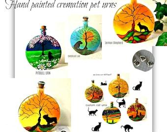 Dog urn, hand painted dog urns, custom pet urns, rainbow bridge pet urns, dog memorial gifts, personalized pet cremation urns, pet keepsakes