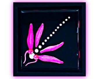 Libelle-Dekor   Libelle-Wand-Kunst   Libelle Shadow Box Gemälde   dekorative Fliesen   Libelle handgemalte Geschenke   Libellen