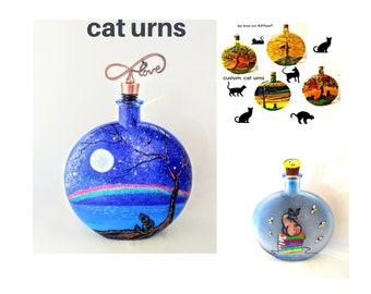 Cat urn, hand painted pet memorials, custom pet urns, memorials for pets, cat memorial gifts, personalized pet cremation urns, pet keepsakes
