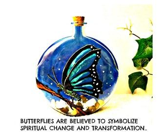 cremation urn | burial ash urn | ash keeper | memory vessel | glass urn | funeral urn | hand painted memorial glass art | butterfly painting