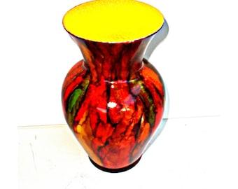 up cycled glass   upcycled glass vase   colorful vase   hand painted glass vase   vase art   glass art   centerpiece vase   glass vase decor