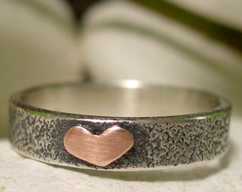 Copper Heart Ring, Mixed Metal Sterling Silver Ring Band, Hand Forged Textured Silver Ring, 7th Wedding Anniversary Romantic Jewelry Gift