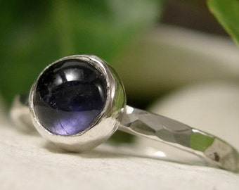 Iolite Ring, Dark Blue Stone Ring, Sterling Silver Stacking Ring, Bezel Set Solitaire Blue Cabochon Ring, Semi Precious Gemstone Jewellery