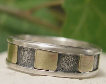 Industrial Ring, Sterling Silver Ring Band, Hand Forged, Textured Silver & Brass Mixed Metal Ring, Unique Mens Ring, Jewelry Gift for Men