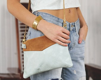 Leather Crossbody Purse - Cross Body Bag - In Mint Blush Saffron Indigo White and Many Other Colors