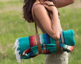 Personalized Yoga Gifts - Yoga Mat Holder or Blanket Holder - Genuine Leather - Available in 40+ Colors