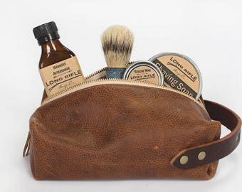 Personalized Mens Leather Dopp Kit - Leather Toiletry Bag - Customizable - Leather Shaving Kit - Mens Toiletry Bag - Travel Toiletry Bag