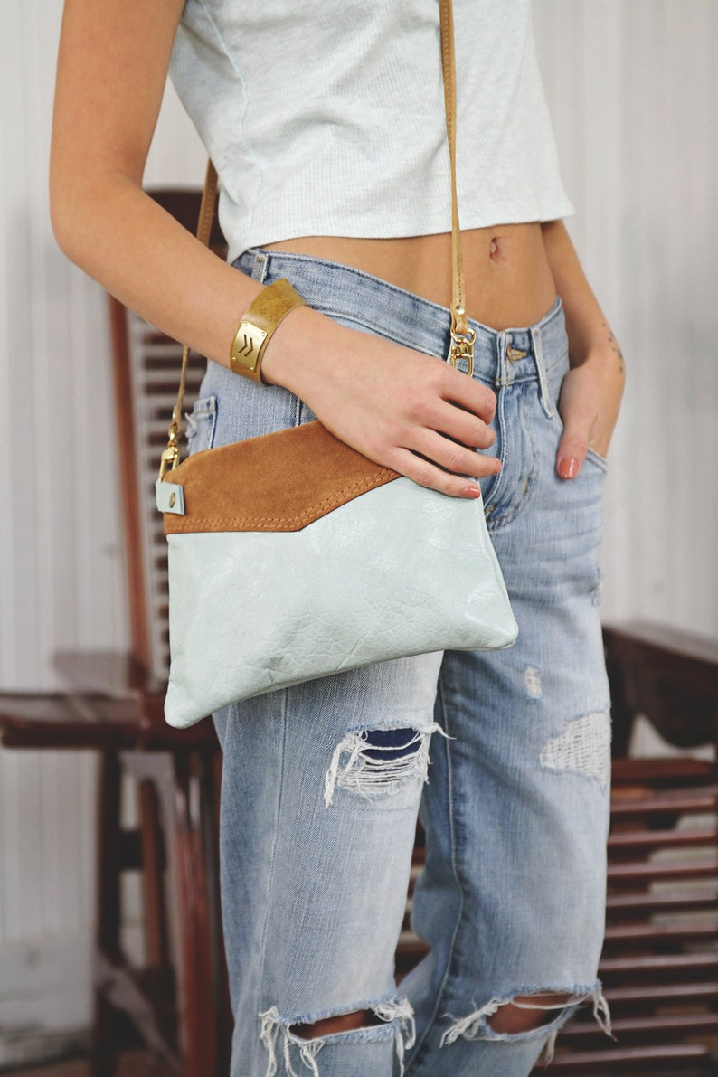 Leather Crossbody Purse  Cross Body Bags For Women  Two Tone image 0