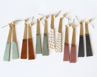 Leather And Brass Dangle Earrings - Modern and Edgy With a Hint of Boho Style - Available in 40 Colors