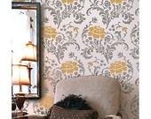 Julia Allover Stencil Pattern - Reusable stencils just like wallpaper