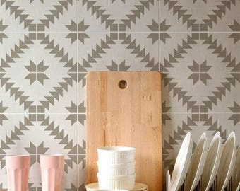 Cement Tile Decal Etsy - Faux encaustic tile