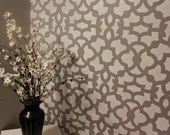 Moroccan Stencil Zamira   Large   Reusable Wall Stencil Patterns Instead Of  Wallpaper   Quality Stencils For DIY Decor