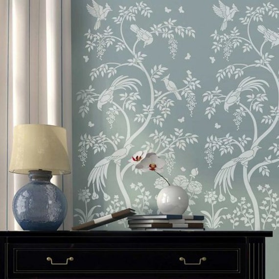Birds And Berries Chinoiserie Wall Mural Stencil Diy Asian Garden Decor Reusable Stencils For Home Makeovers