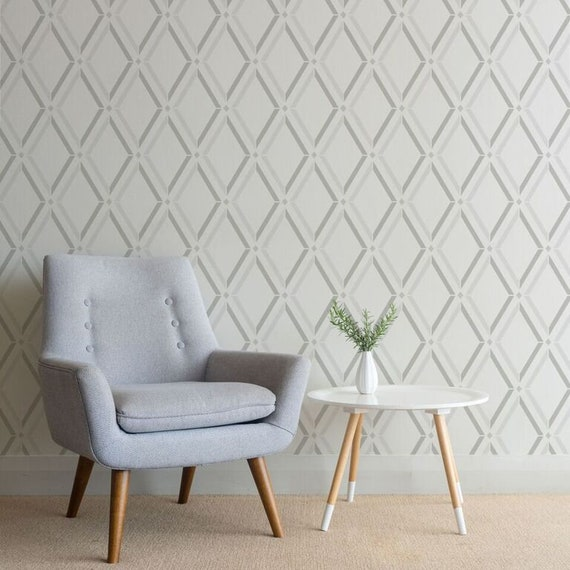 Diamond Trellis Wall Stencil Diy Wallpaper Design Modern Wall Stencils For Painting Large Wall Stencil