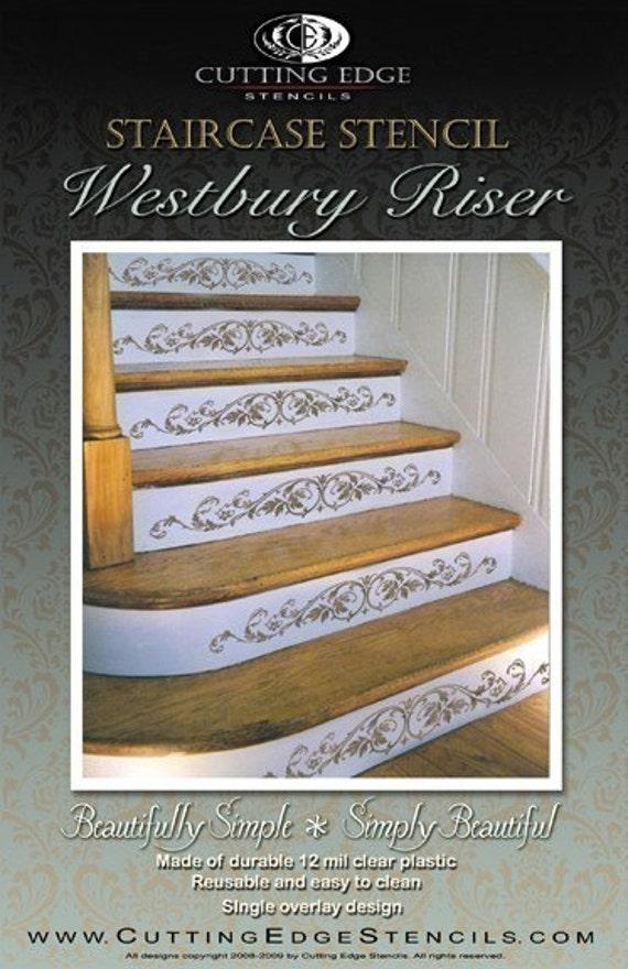 Staircase Stencil Westbury Stair Riser   Stencils For Classical Decor   DIY  Home Decor   Stencils For Stairs   Wall Stencils