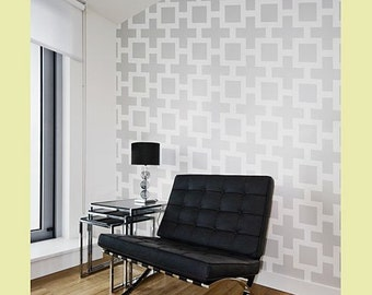 Square Plus Allover - Small scale - reusable stencil patterns for walls just like wallpaper - DIY decor