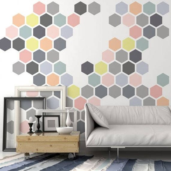 Honeycomb Wall Stencil Large Wall Stencils Instead Of Etsy