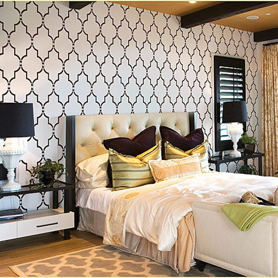 Marrakech Trellis Wall Stencil - Large Stencils for Walls - Reusable  stencils for easy DIY - Moroccan Stencil Design - Stencils for Painting