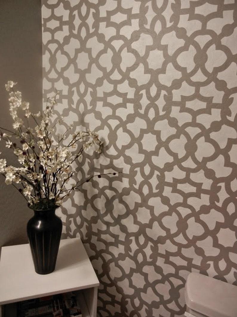 Moroccan Stencil Zamira Allover - Short - reusable wall stencil patterns  for walls instead of wallpaper - DIY decor